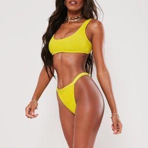 Missguided high leg yellow crinkle bikini
